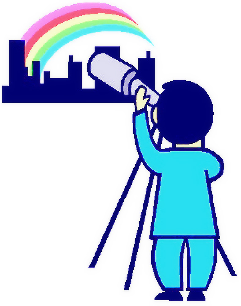 Person looking through telescope at city and rainbow
