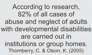 According to research, 82% of all cases of abuse and neglect of adults with developmental disabilities are carried out in institutions or group homes.