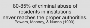 80-85% of criminal abuse of residents in institutions never reaches the proper authorities.
