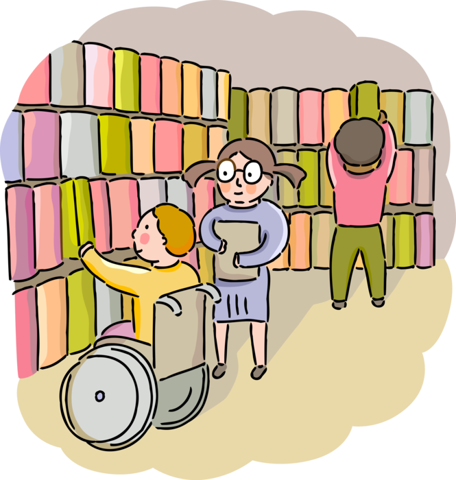 Wheelchair user at a library