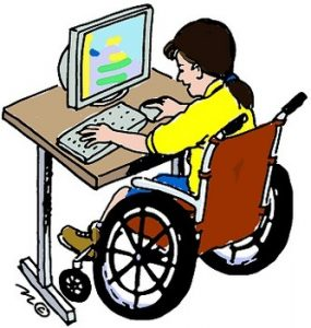 Girl in wheelchair using computer