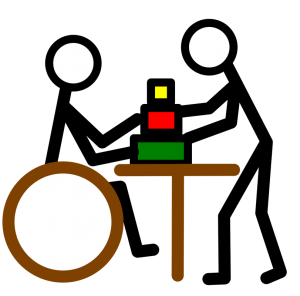 Physical Therapy stick figures stacking blocks